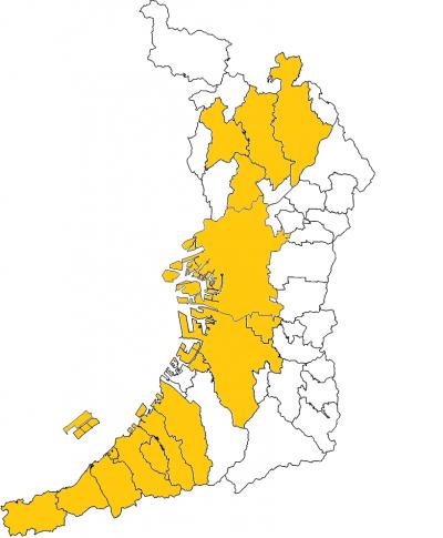規制地図 ※オレンジ:臭気指数規制、それ以外:特定悪臭物質規制 悪臭防止法の基準設... 大阪府