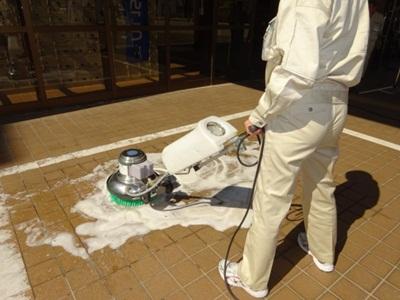 玄関床洗浄実習